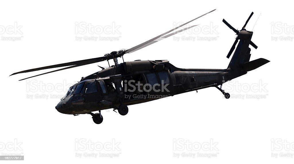 Close up of a black military helicopter stock photo