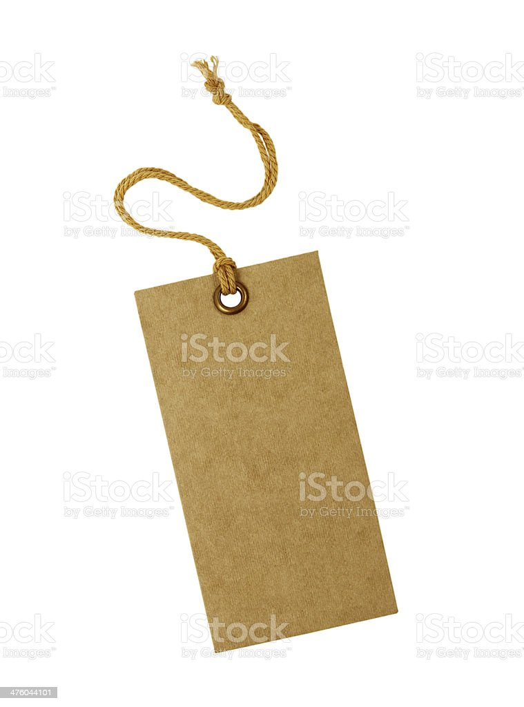 close up of a blank price label on white background royalty-free stock photo