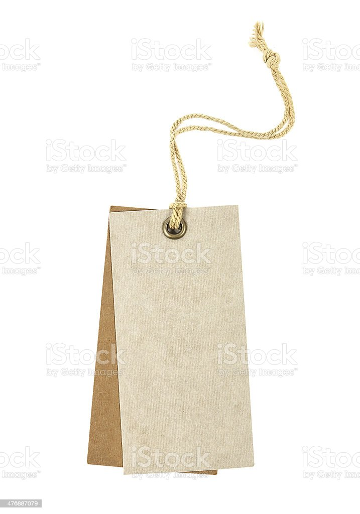 close up of a blank price label on white background stock photo