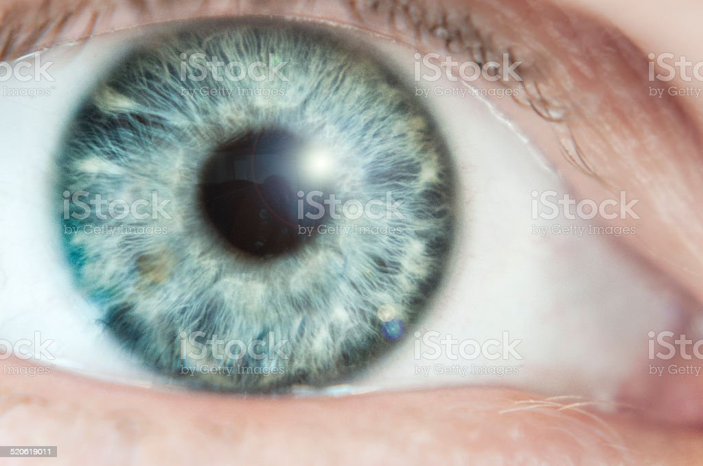 Close Up Of A Blueish Green Eye stock photo
