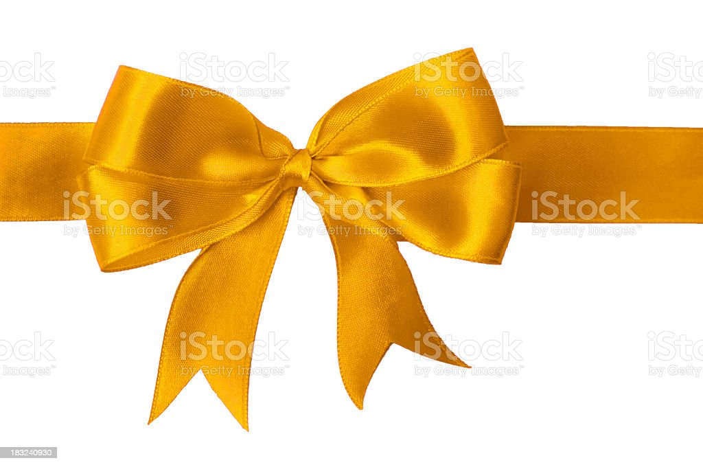 Close up of a bright gold bow with two loops on each side stock photo