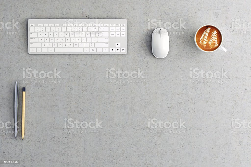 Close up of a business office desk stock photo