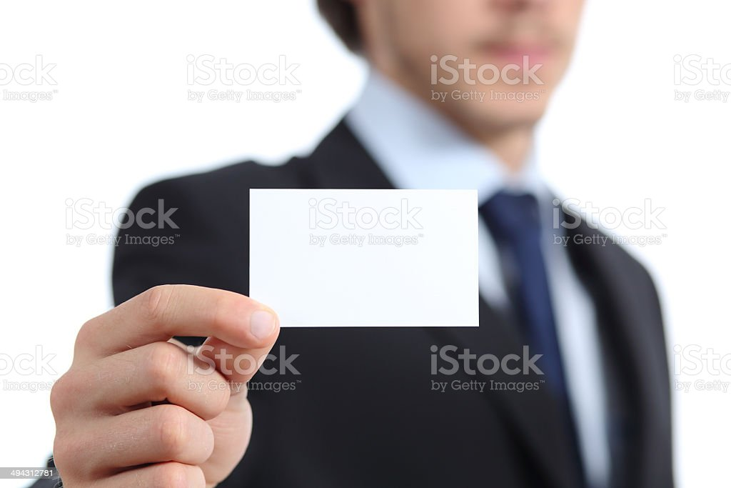 Close up of a businessman hand holding a business card royalty-free stock photo
