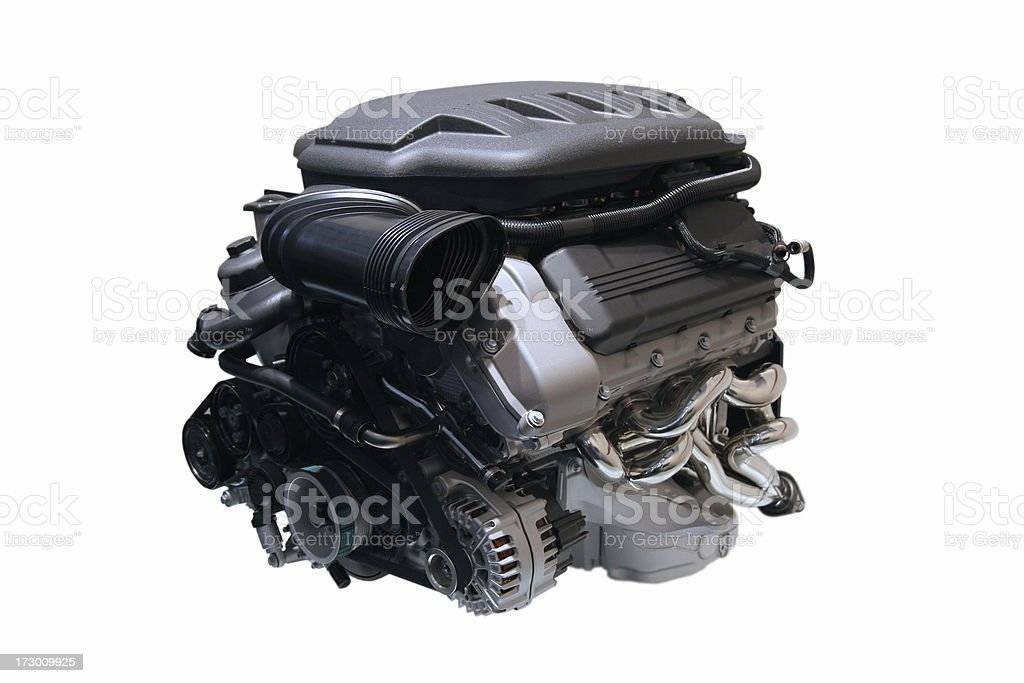 A close up of a car engine on a white background royalty-free stock photo