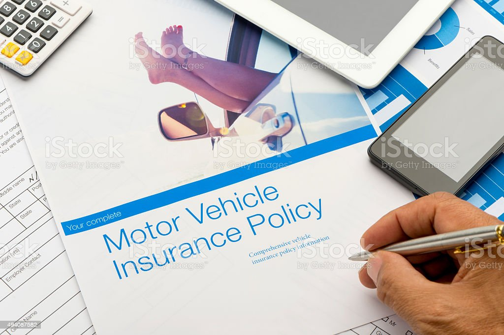 Close up of a Car insurance policy with car image stock photo