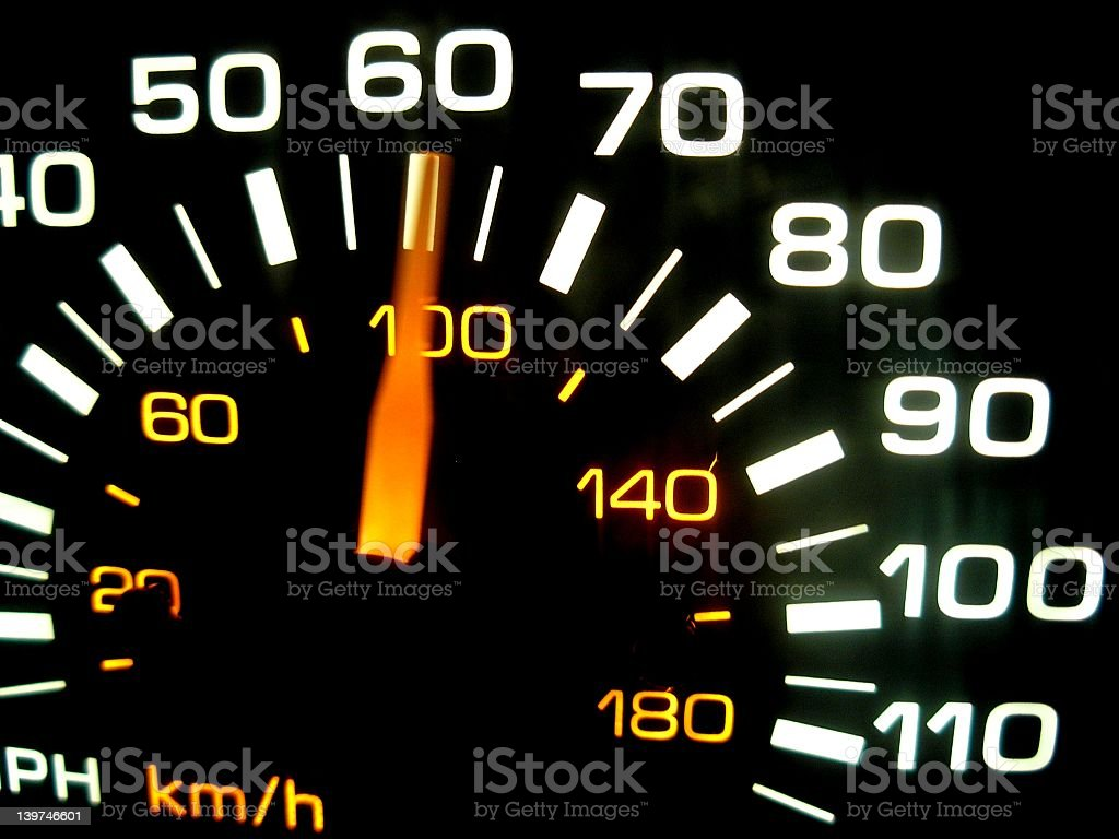 A close up of a car speedometer stock photo