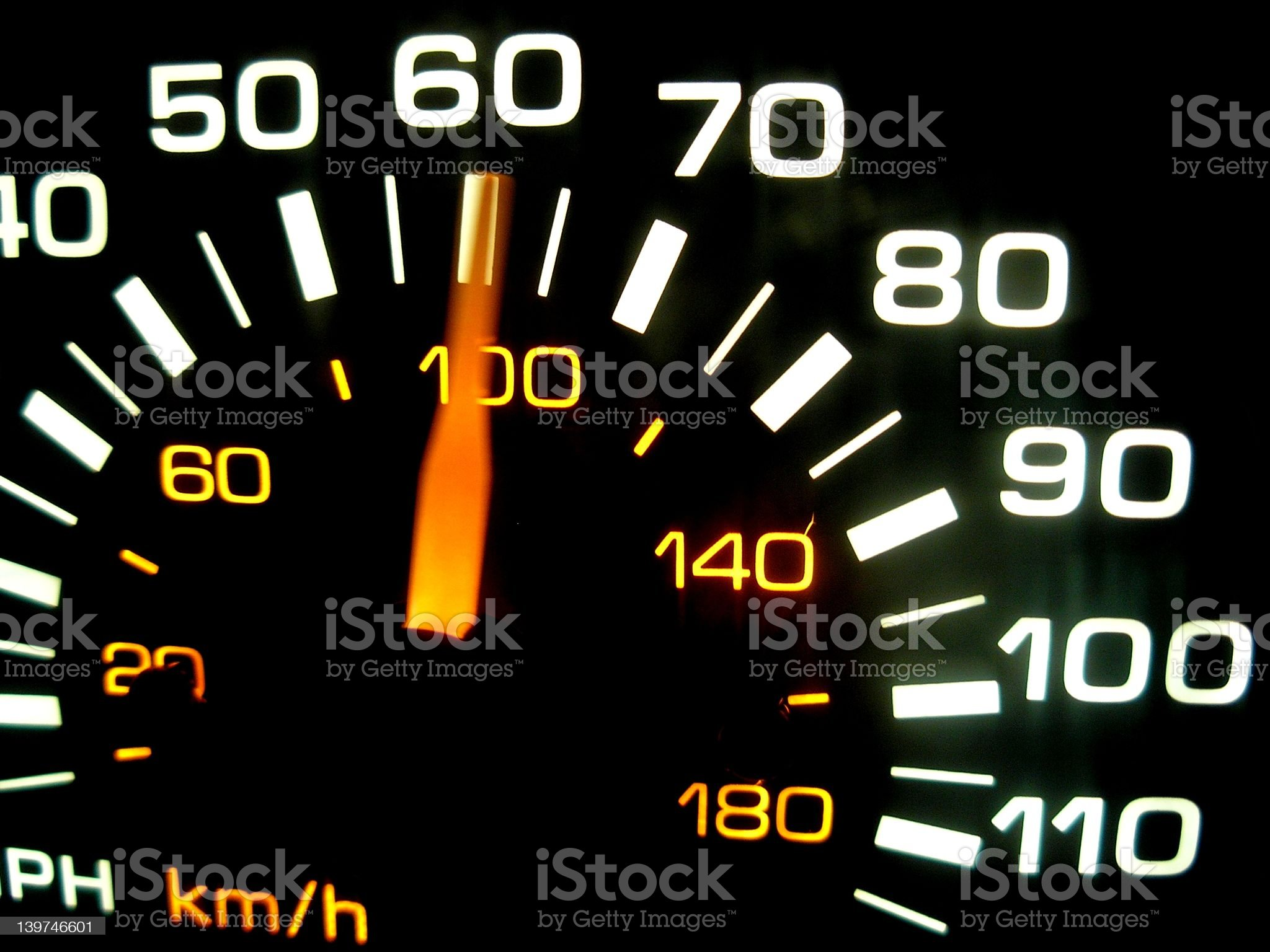 A close up of a car speedometer royalty-free stock photo