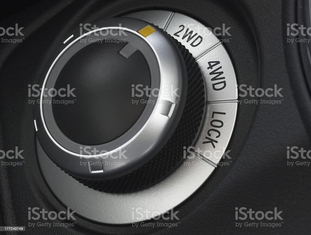 close up of a car wheel drive control selector royalty-free stock photo