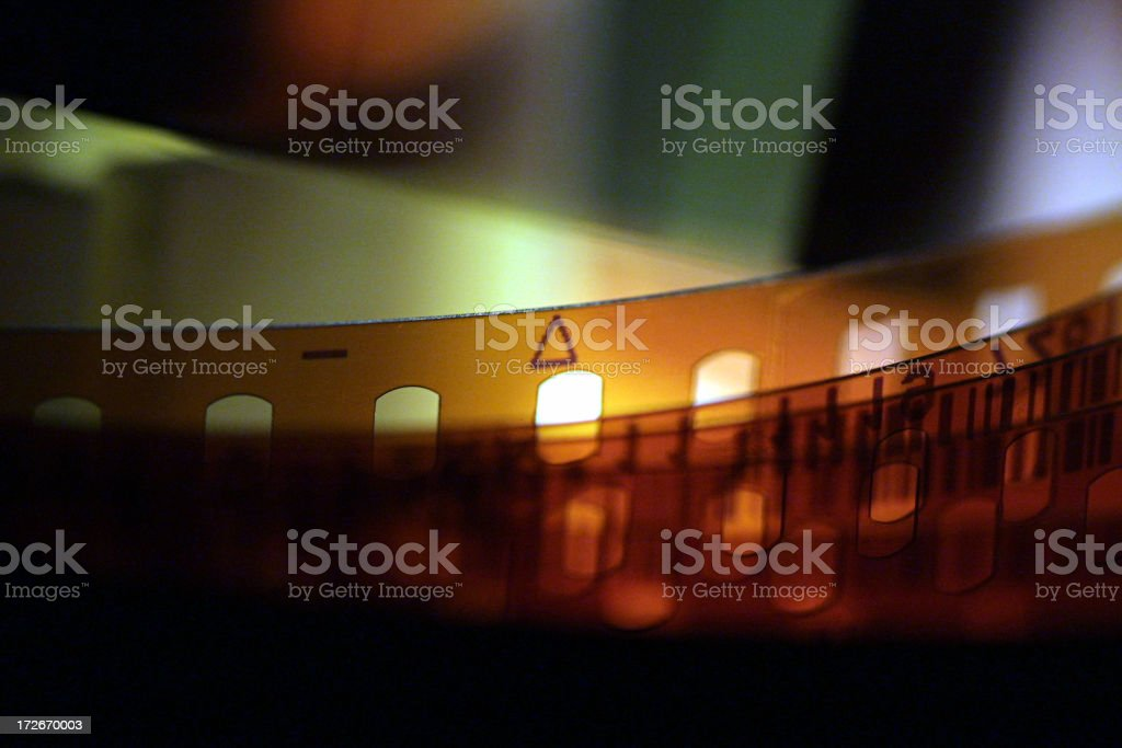 Close up of a celluloid film strip stock photo