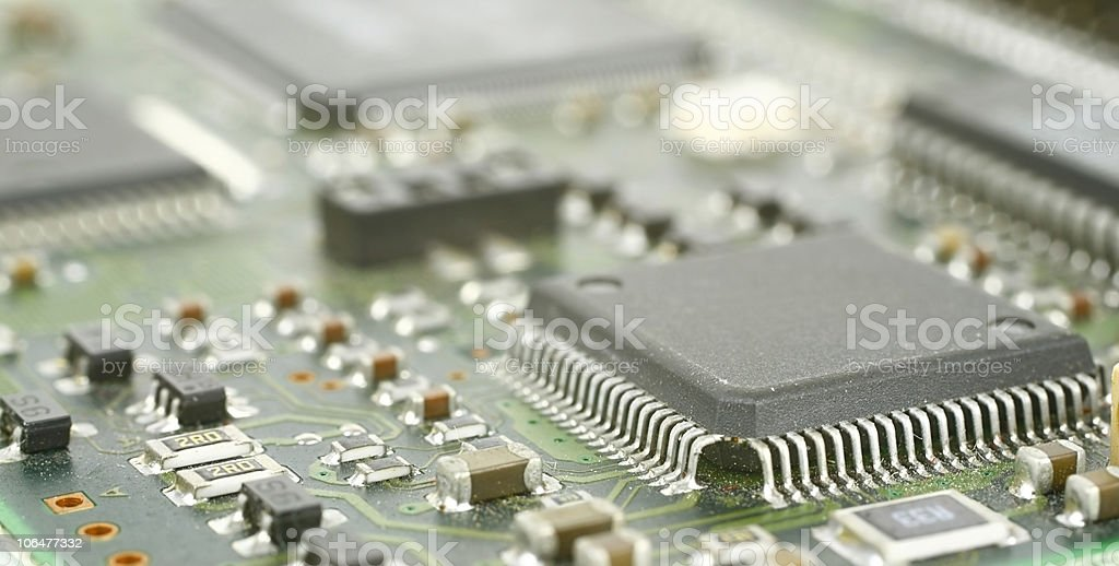 Close up of a circuit board with chips royalty-free stock photo