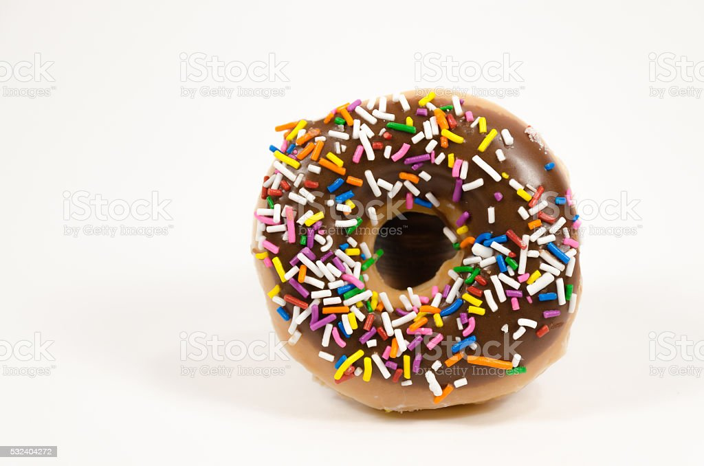 Close up of a coloful donut stock photo