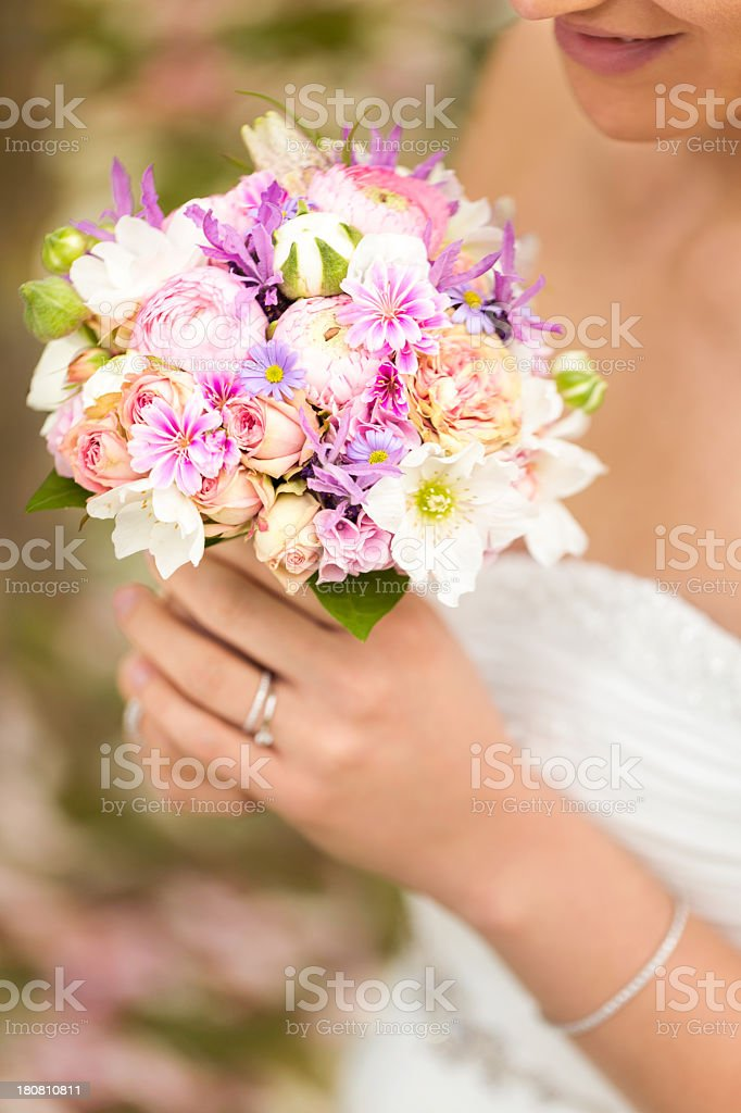 Close up of a colorful wedding bouquet royalty-free stock photo