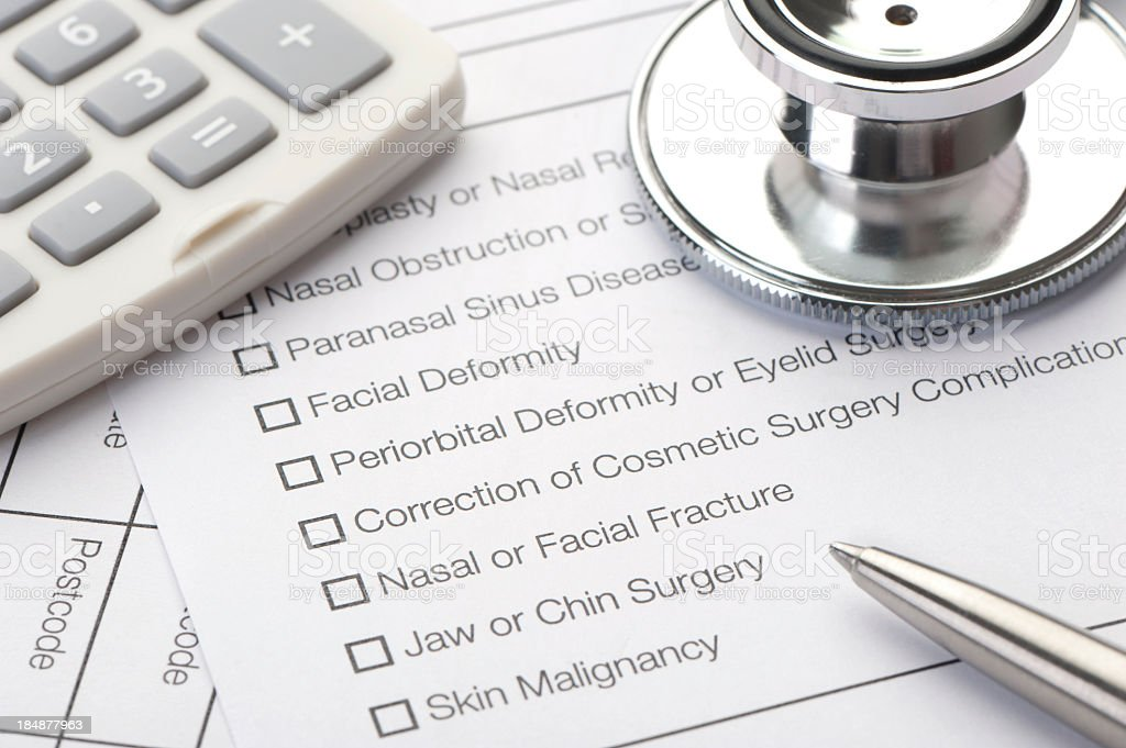 Close up of a Cosmetic Surgery check list stock photo