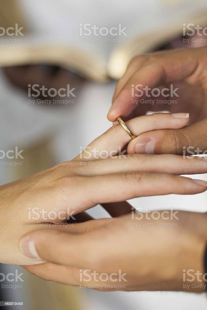 Close up of a couple exchanging their wedding rings royalty-free stock photo
