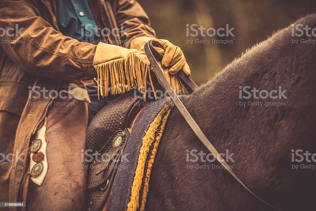 Close up of a cowboy holding reins in his hands stock photo