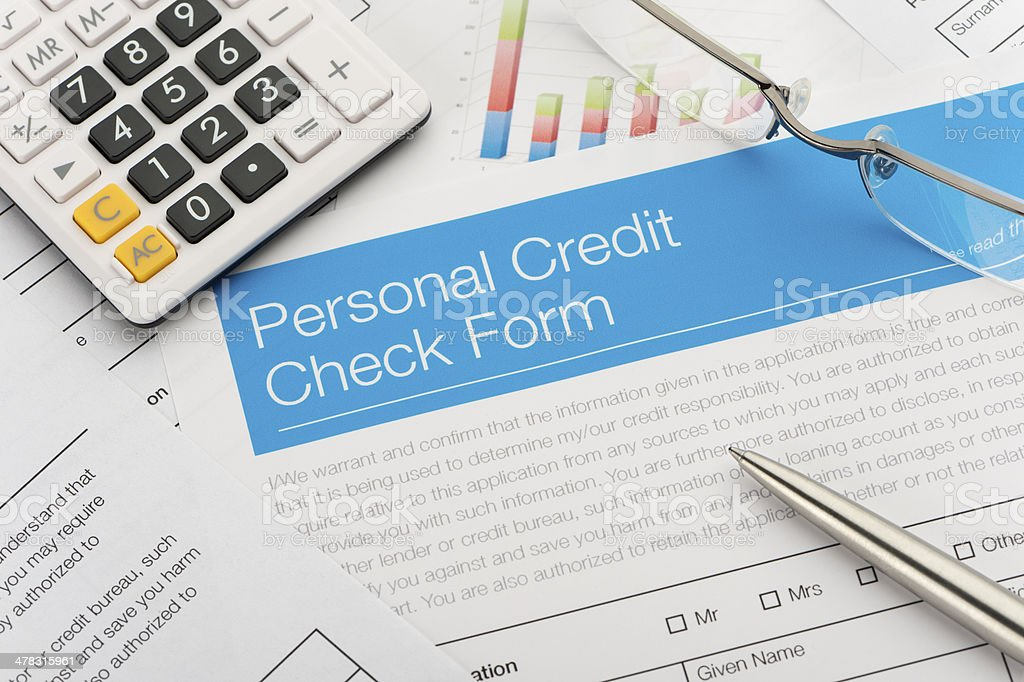 Close up of a Credit check form royalty-free stock photo