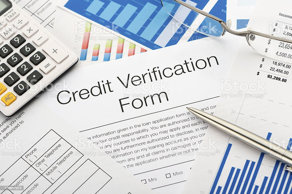 Close up of a credit verification form royalty-free stock photo