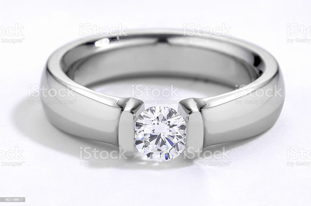 Close up of a diamond engagement ring royalty-free stock photo