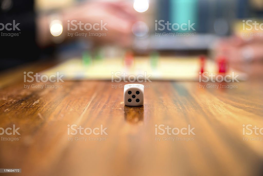 Close up of a dice with blurred background stock photo