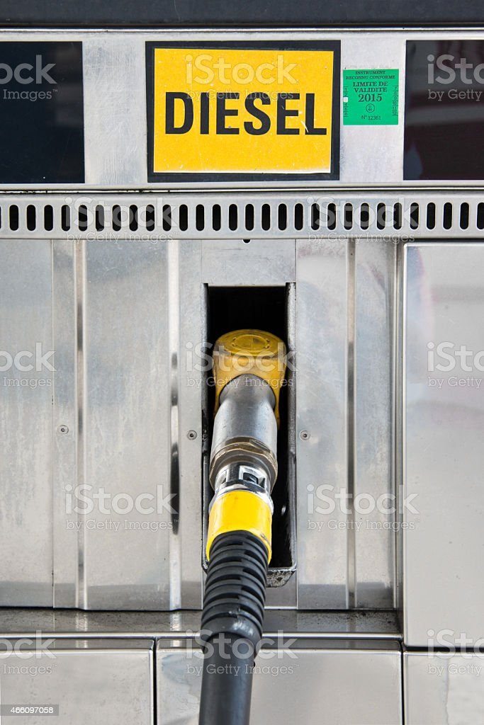 Close up of a diesel gas pump nozzle stock photo