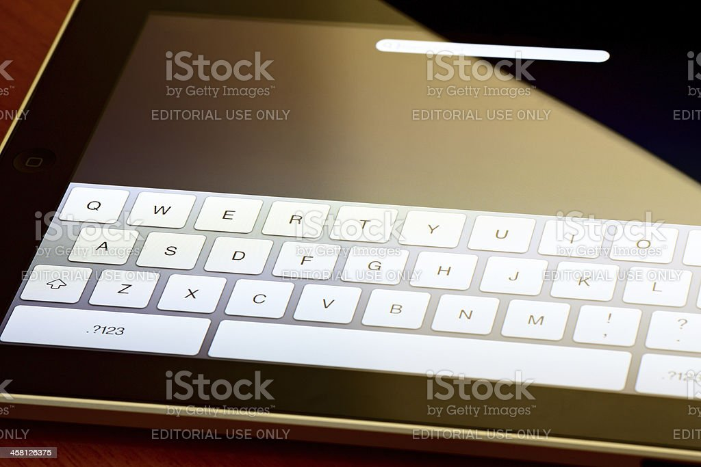 Close up of a digital tablet keypad royalty-free stock photo