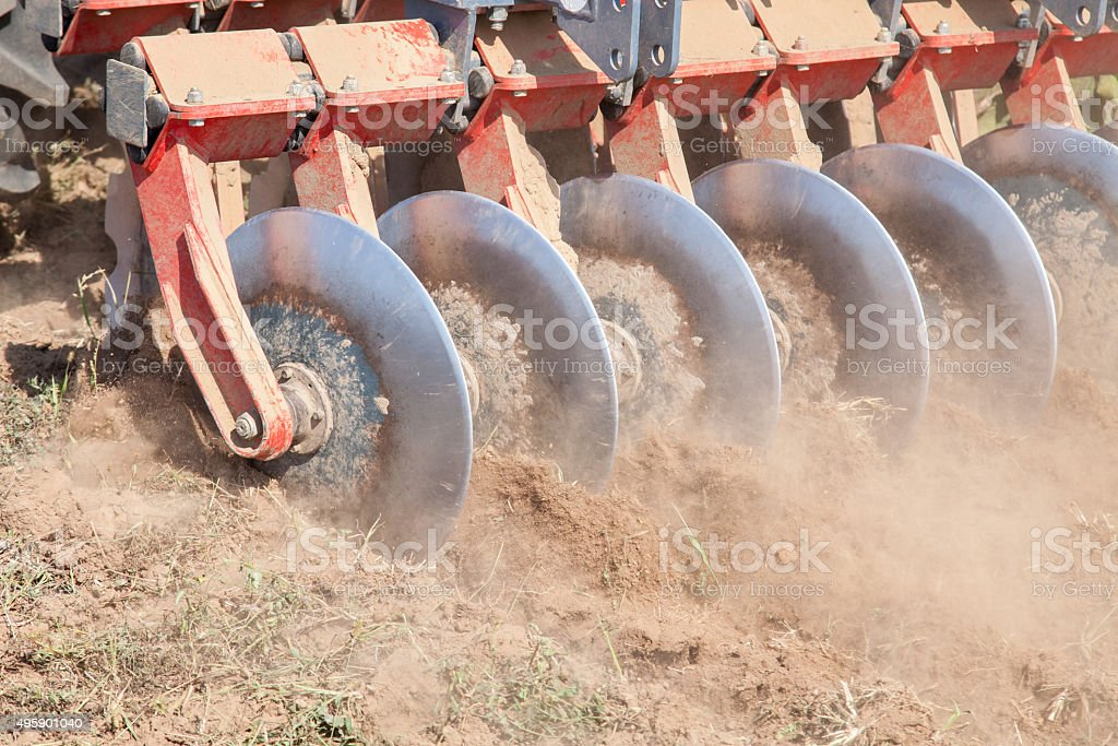 Close up of a disc harrow system, cultivate the soil stock photo
