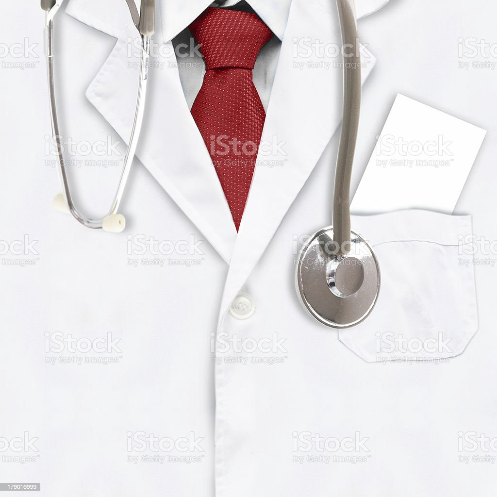 Close up of a doctors lab white coat royalty-free stock photo