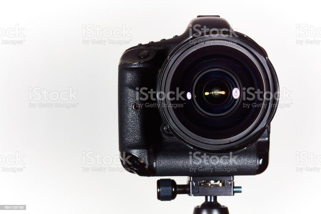 Close up of a DSLR camera in studio stock photo