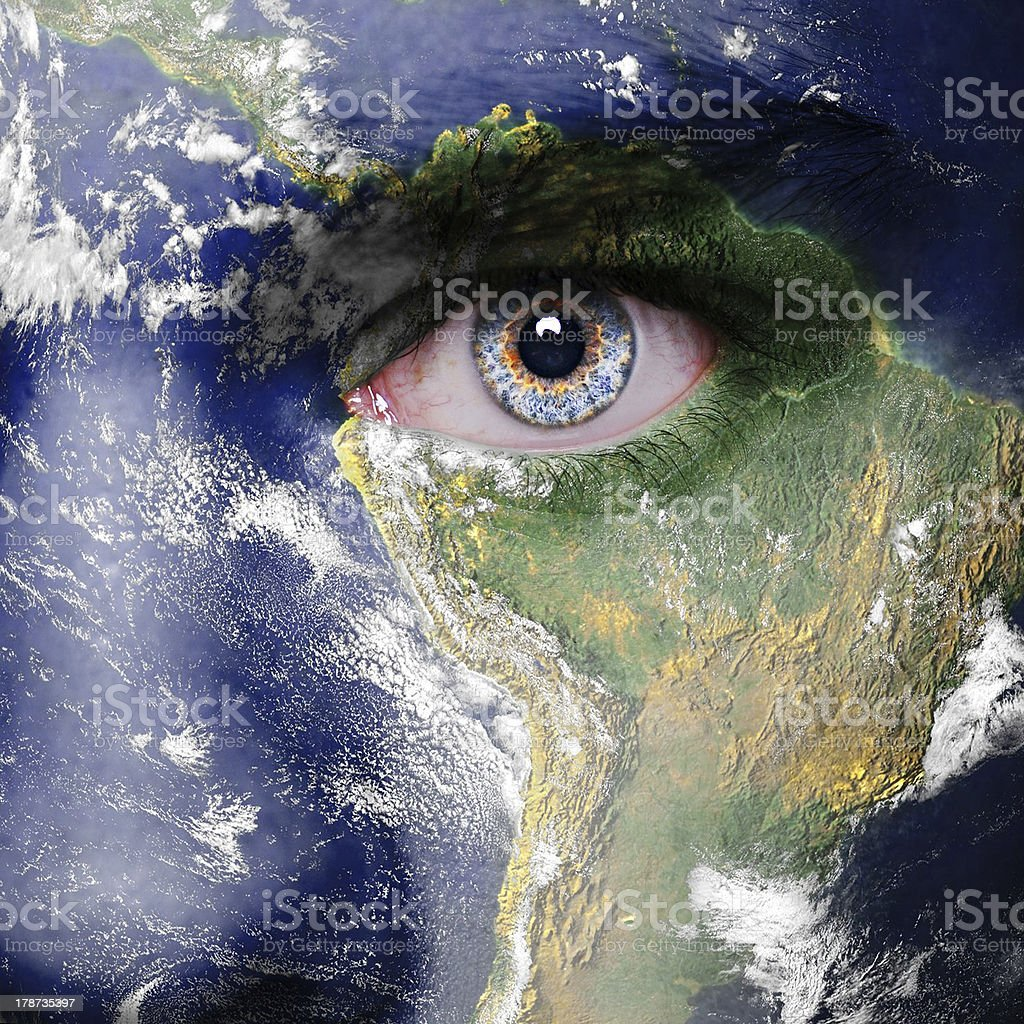 Close up of a face painted like the planet Earth stock photo