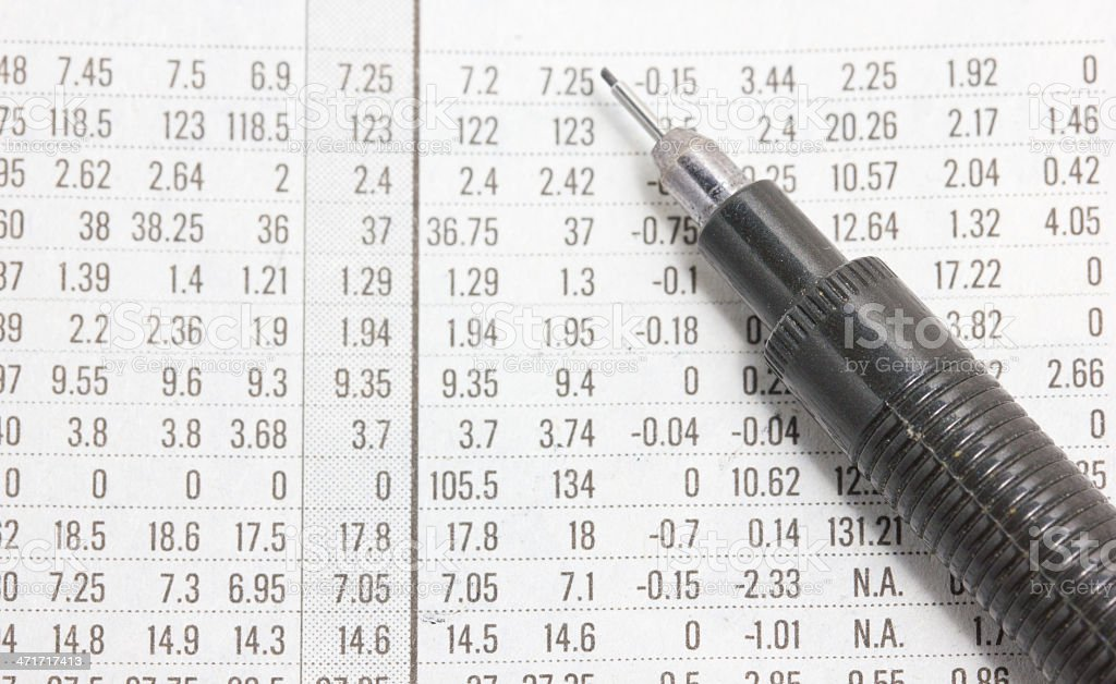 Close up of a financial section with automatic pencil. royalty-free stock photo