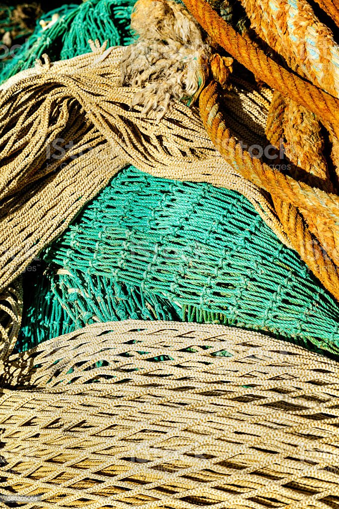 Close up of a fishing net background stock photo