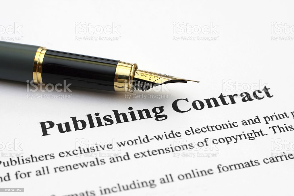 Close up of a fountain pen on a publishing contract royalty-free stock photo