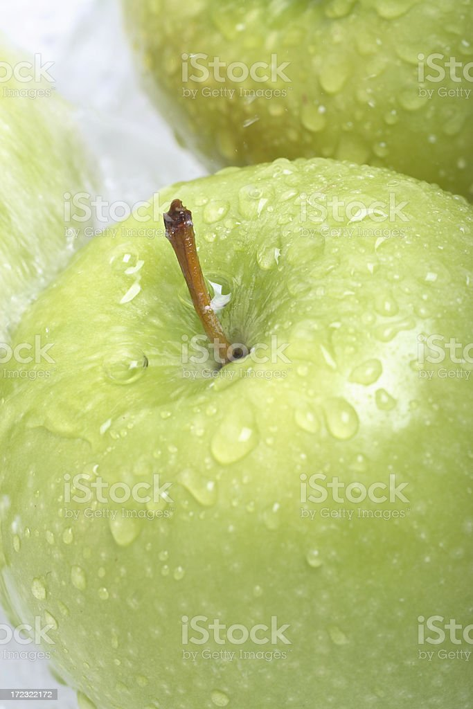 Close up of a fresh green apple royalty-free stock photo