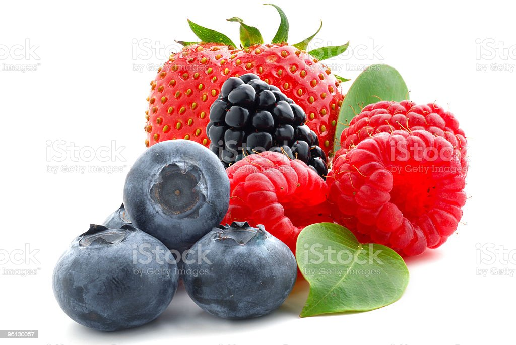 Close up of a fresh summer berries on a white background  royalty-free stock photo