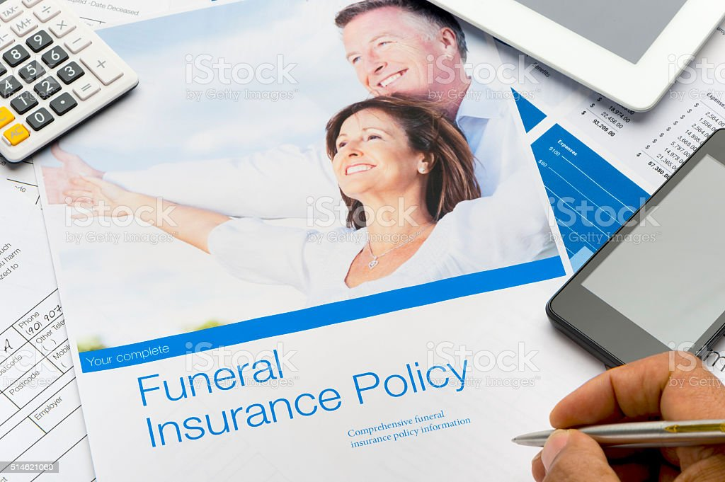 Close up of a funeral insurance kit. stock photo