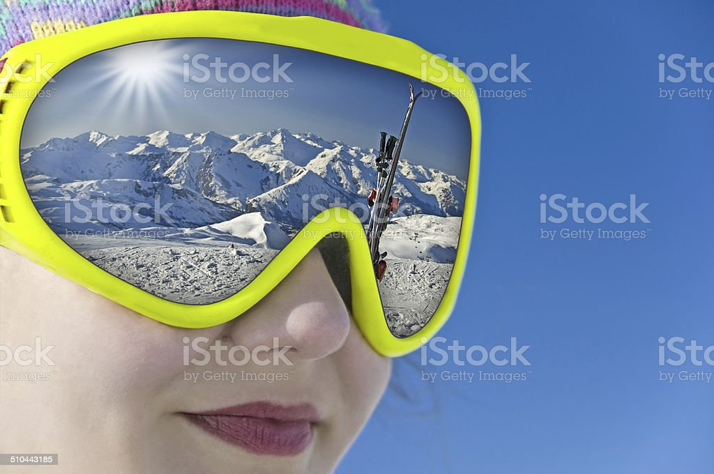 Close up of a girl with a ski mask stock photo