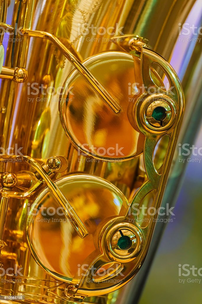 Close up of a Golden Plated Alto Saxophone stock photo
