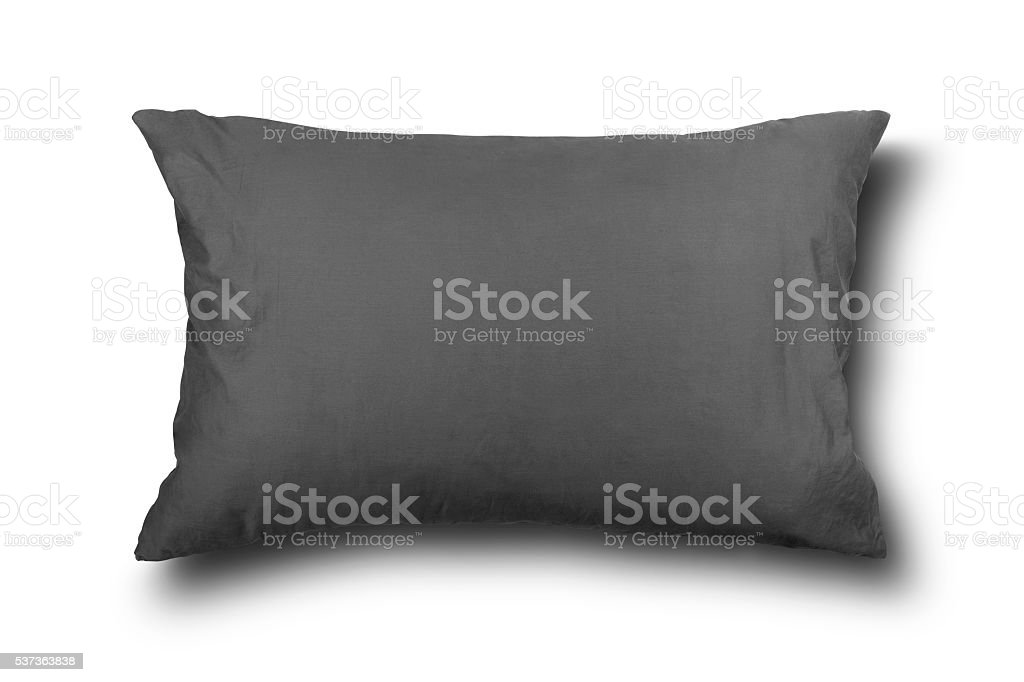 close up of a gray pillow on white background stock photo