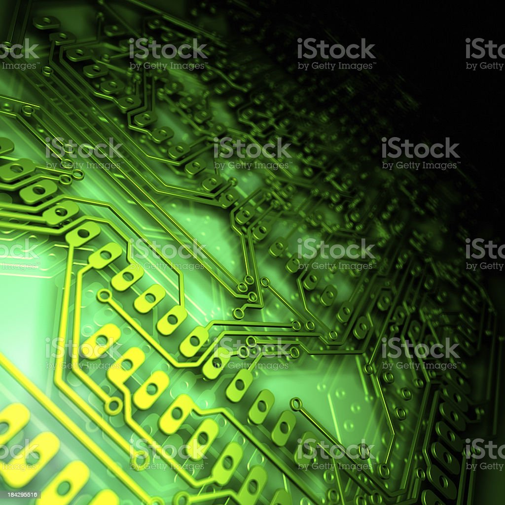 Close up of a green circuit board royalty-free stock photo