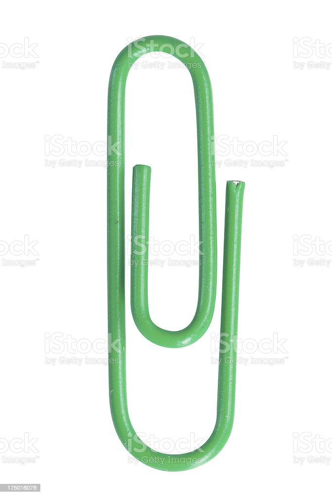 Close up of a green paper clip royalty-free stock photo