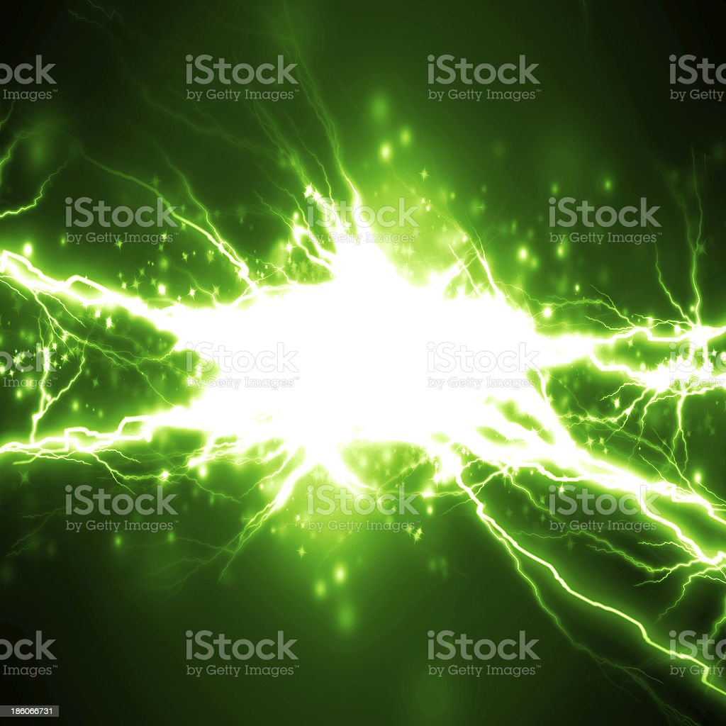 Close up of a green spark of electricity stock photo