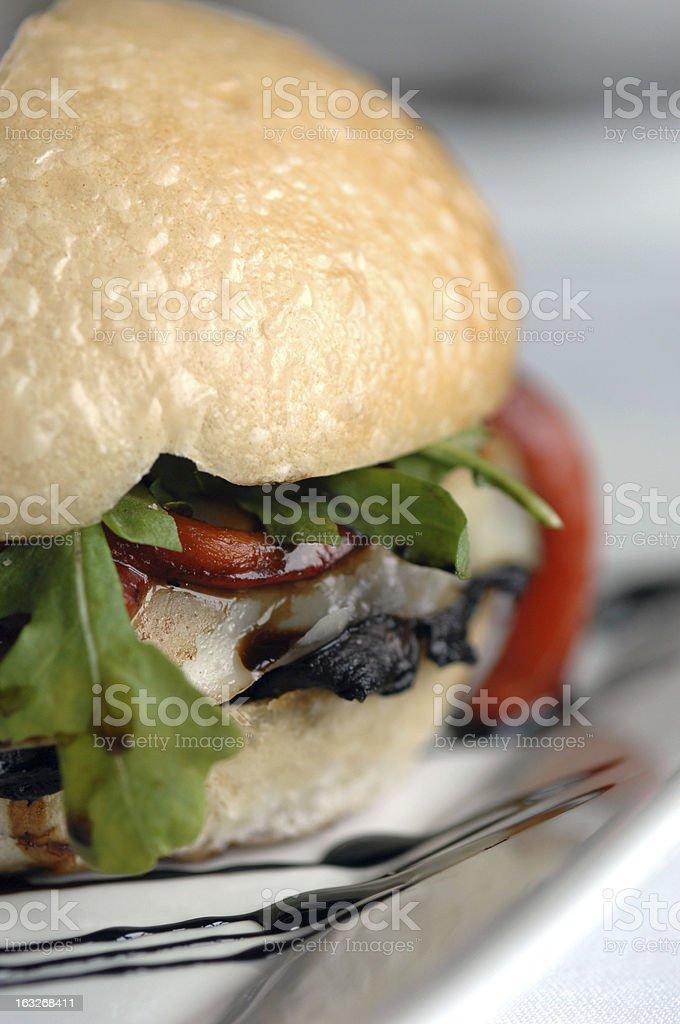 Close up of a Grilled Portobello Mushroom sandwich. royalty-free stock photo