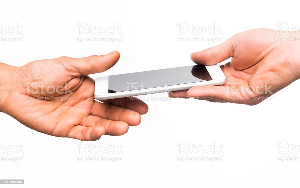 Close up of a hand giving Smart phone stock photo