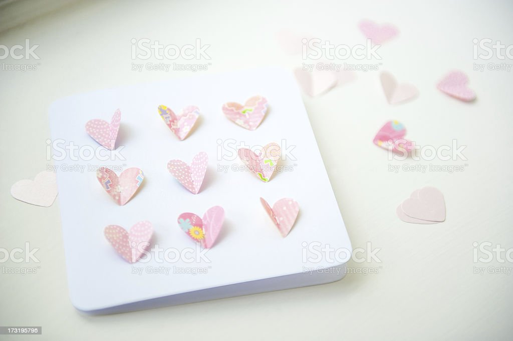 Close up of a Handmade Card with butterfly hearts royalty-free stock photo
