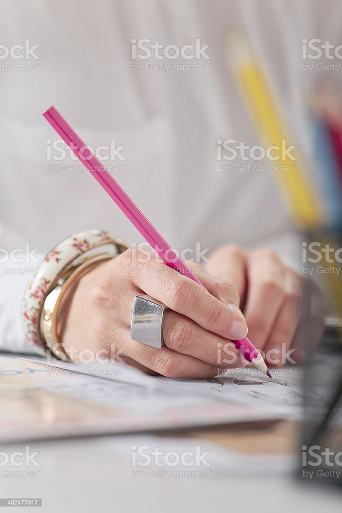 Close up of a hand's woman doing fashion sketches. stock photo
