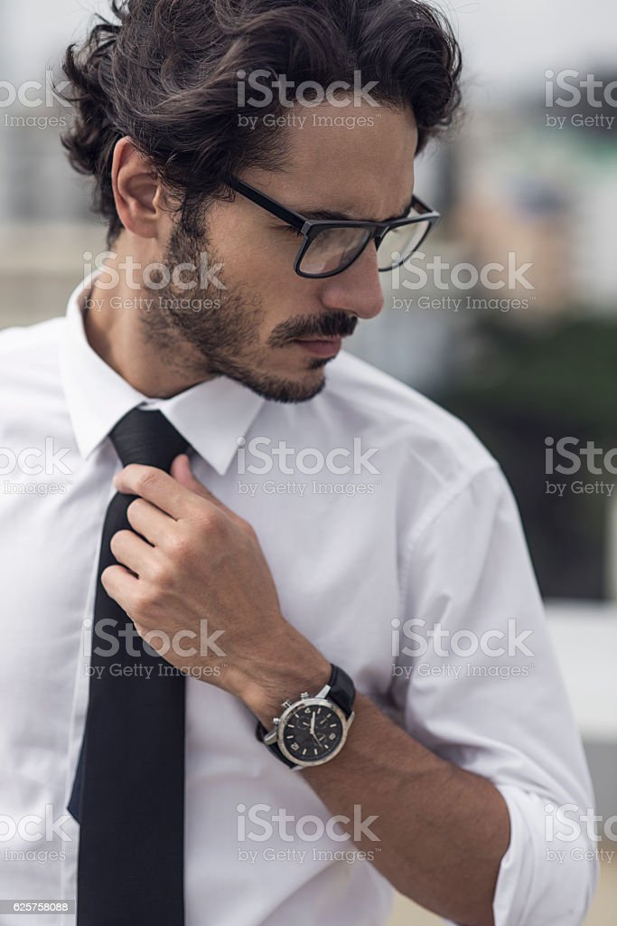 close up of a handsome young businessman stock photo
