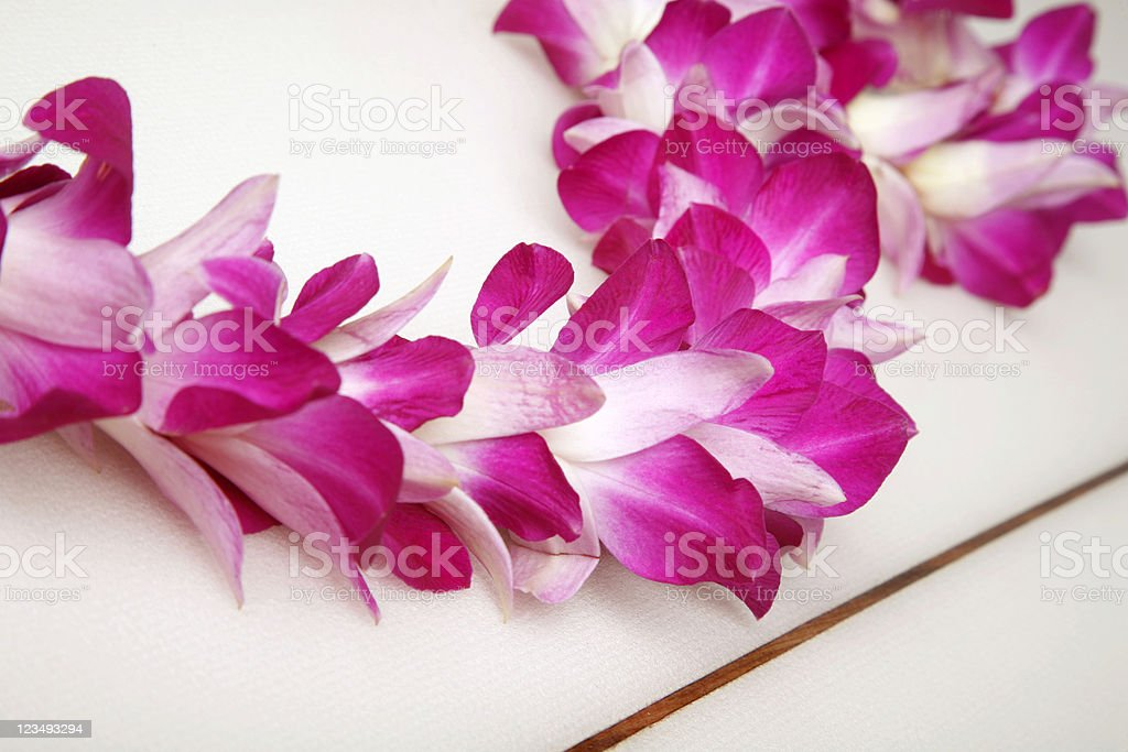 Close Up of a Hawaiian Lei on Surfboard stock photo