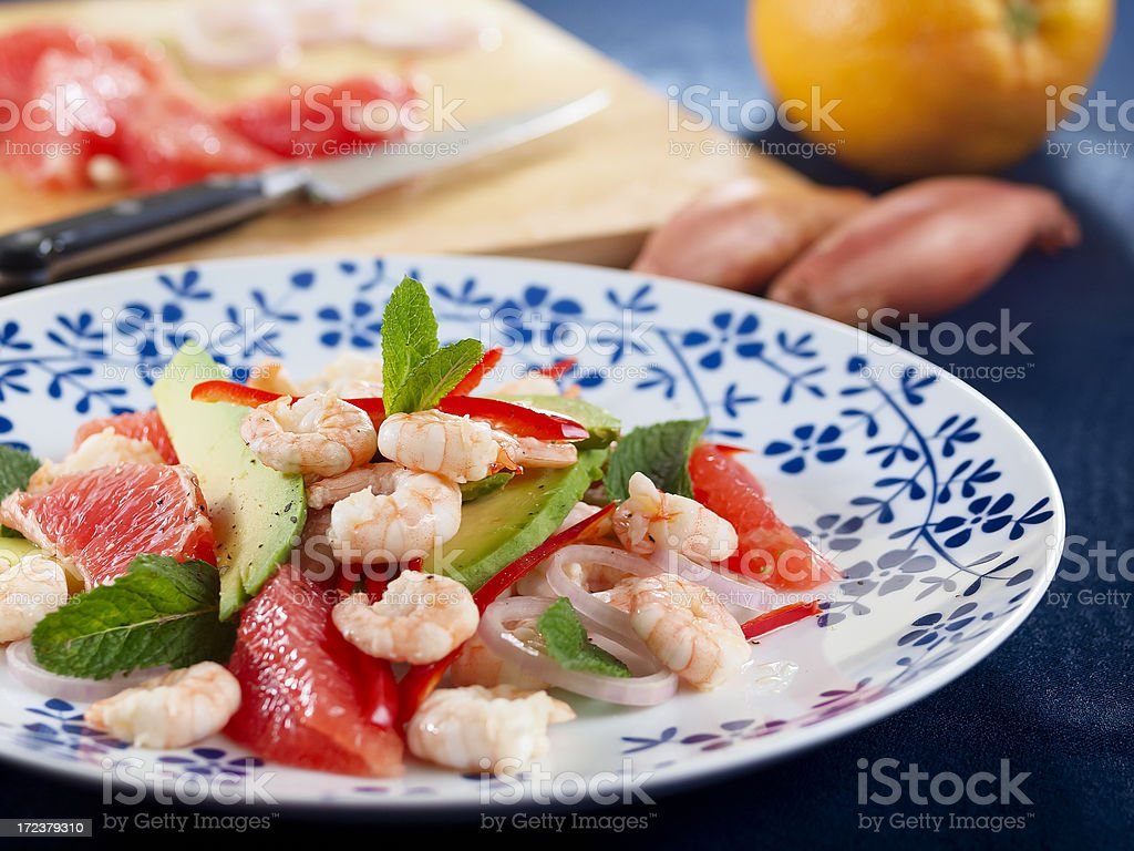 close up of a healthy prawn salad garnished with mint royalty-free stock photo