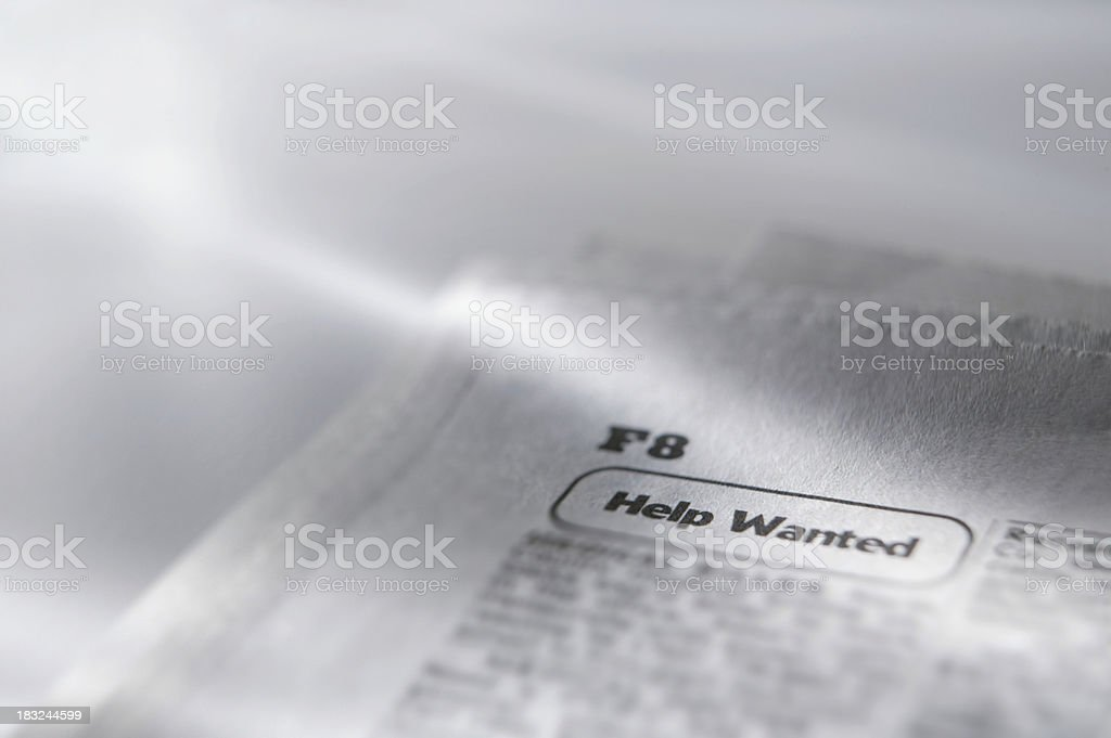 Close up of a help wanted category in newspaper royalty-free stock photo