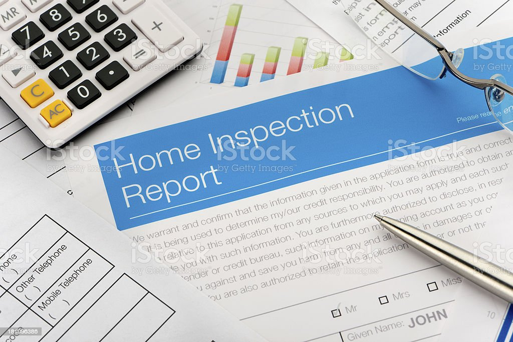 Close up of a home inspection report royalty-free stock photo